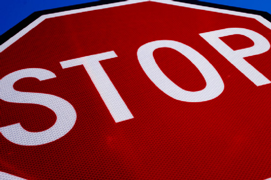 close-up of a stop sign